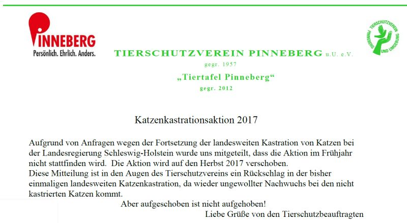 Katzenkastrationsaktion 2017