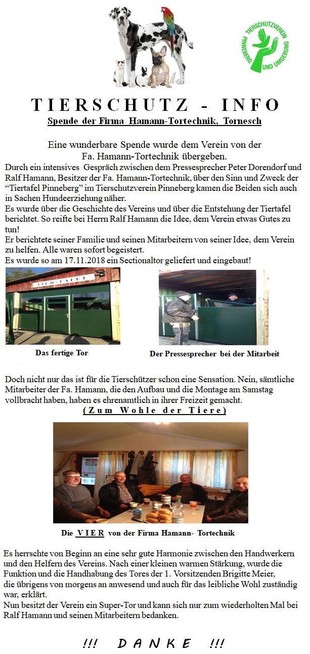 Spende der Firma Hamann Tortechnik
