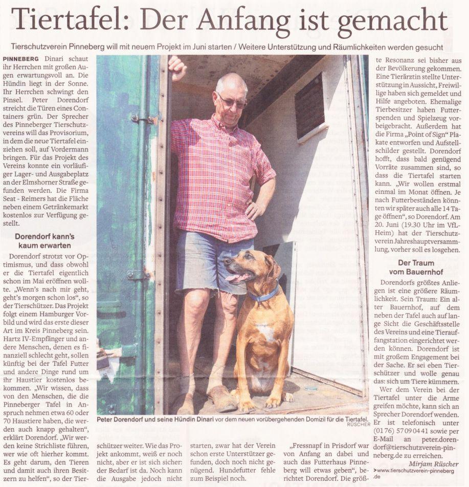 2012-05-23 Pressebericht zum Start der Tiertafel Pinneberg