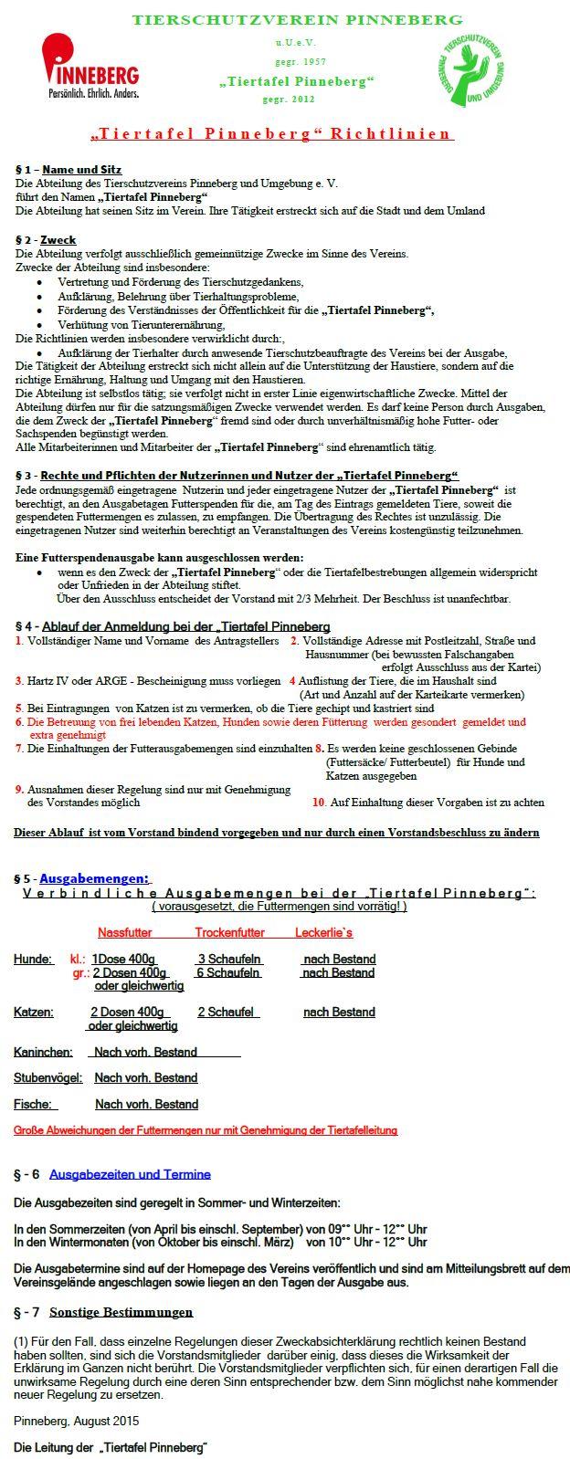 Tiertafel Richtlinien