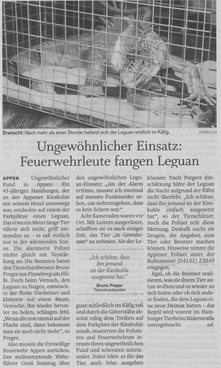 2010-04-03 Pressebericht Leguan eingefangen
