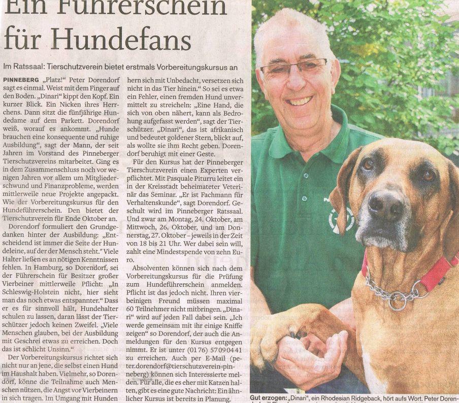 2010-09-29 Pressebericht zum Hundeführerschein