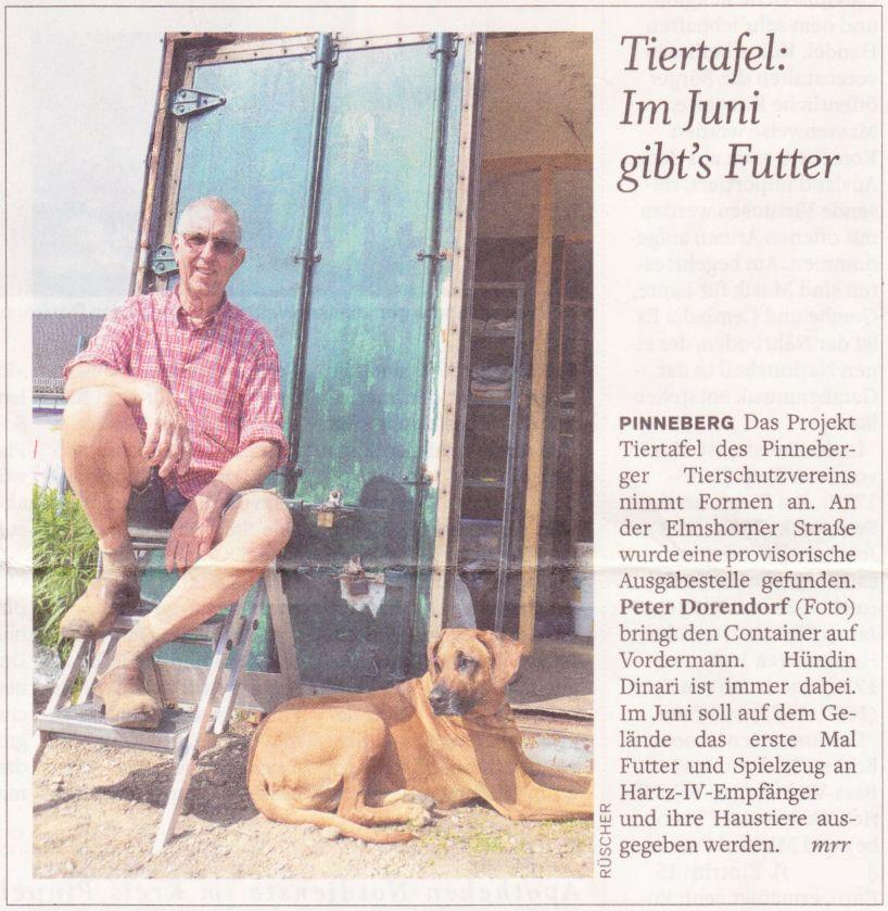 2012-05-23 Pressebericht zur Tiertafel - Im Juni gibt's Futter