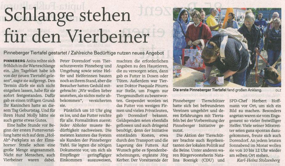 2012-06-12 Pressebericht zum Andrang bei der Tiertafel