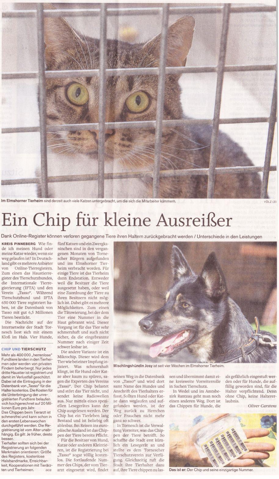 2012-07-17 Pressebericht über den Chip für Tiere