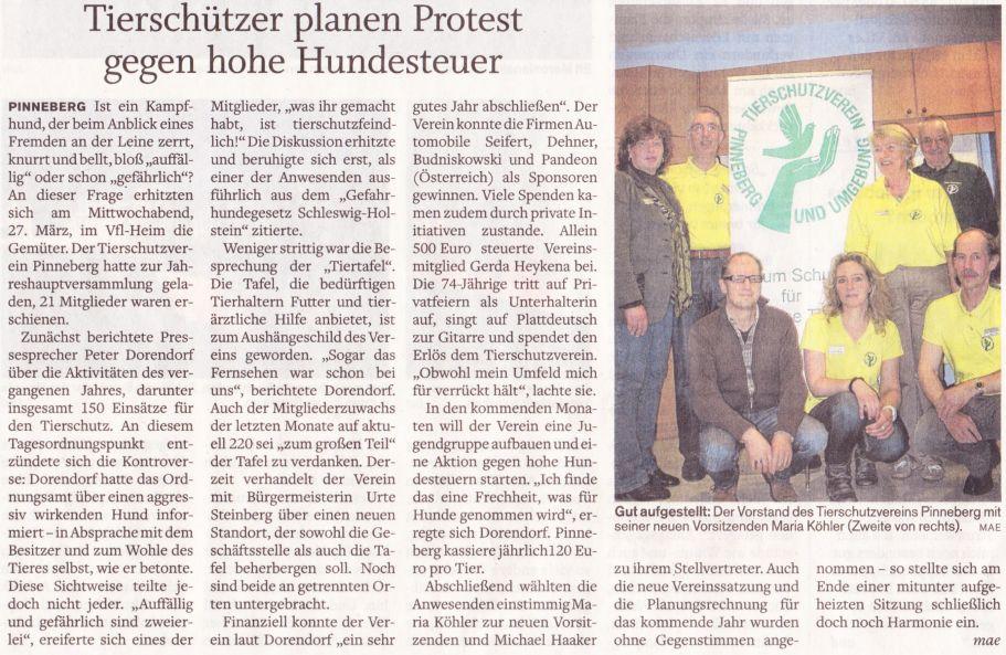 2013-04-05 Pressebericht über unseren Protest gegen hohe Hundesteuer