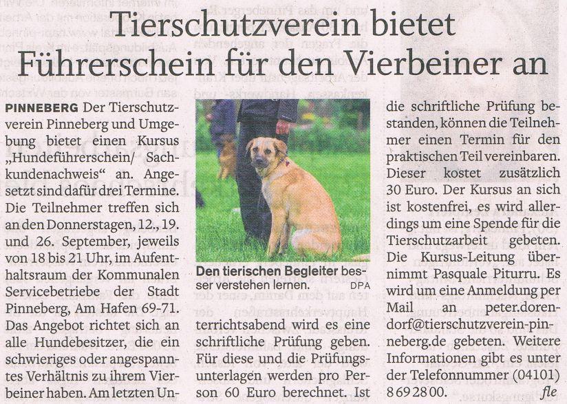 2013-09-05 Pressebericht über unser Angebot für den Hundeführerschein